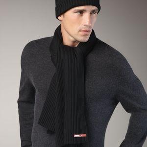 Prada Black Soft Wool Ribbed Scarf